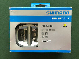 *New* Shimano PD-A530 Double-sided SPD Pedals, Silver, complete with cleats dual