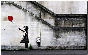 """BANKSY STREET ART CANVAS PRINT There is always hope 16""""X 12"""" stencil poster"""