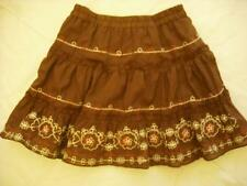 Authentic Guess Girls Brown Peasant Skirt, Pink & White Embroidered. SZ 4. NWT