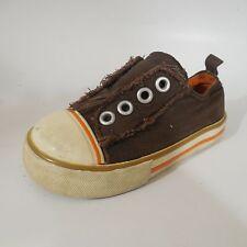 Old Navy Slip On Sneaker Brown Orange Casual Shoe sz 6 Toddler Boys 12-18 Months