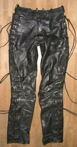 Hein Gericke Red Zipp Damen- Leather Jeans/Lace-Up Trousers IN Black Approx. 36