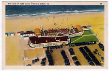 1930-1945 Virginia Beach VA Air View of Surf Club Aerial RARE Linen Era Postcard