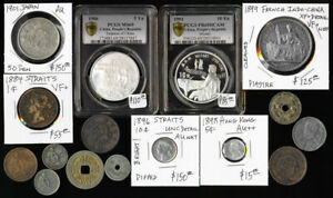 16 OLD ASIA COINS (CHINA JAPAN STRAITS HK & MORE) CV NEAR $700 USD > NO RESERVE