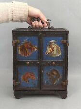 Large Rare Antique 19thC J&E Stevens Painted Cast Iron Still Safe Bank w/ Horses