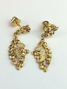 Vintage 22ct 916 Gold Screw Back Drop / Dangle Earrings Available Worldwide