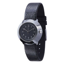 "Normal Timepieces ""Fuji"" Quarzo Acciaio Lucido Nero Pelle Texture Orologio Donna"