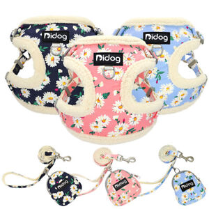 Cute Floral Small Dog Harness Step In Pet Puppy Cat Warm Fleece Walk Vest Pink