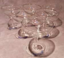Early 1950's Vintage Set Of 6 BABYCHAM Glasses WHITE Fawn Hexagonal Stem