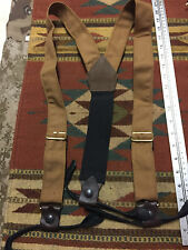Cowboy Western Cotton Suspenders with Leather Braces Classic Old West Styles Tan