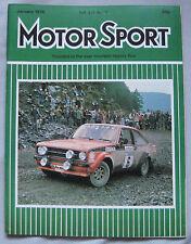Motor Sport Magazine January 1976 featuring BMW, Fiat Abarth, TH. Schneider