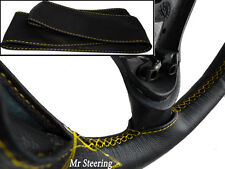 FOR LEXUS LS 400 MK2 BLACK ITALIAN LEATHER STEERING WHEEL COVER YELLOW STITCHING
