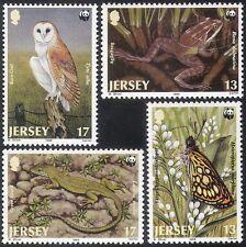 JERSEY 1989 WWF/RANA/LUCERTOLA/gufo/Farfalla/Lizard/NATURA/animali selvatici 4v Set (n11459)