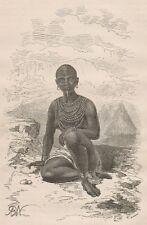 C1222 Bokké, femme de Moy, chef de Latouka - Xilografia - 1867 Vintage engraving