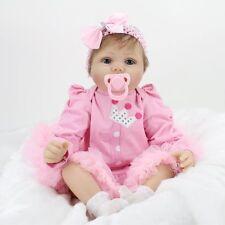 "Handmade Lifelike Baby Dolls 22"" Soft Vinyl Alive Reborn Doll Newborn Girls Gift"