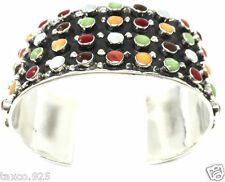 Inlay Beaded Bead Cuff Bracelet Mexico Taxco Mexican 925 Sterling Silver Multi