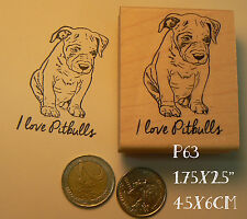P63 Pit bull puppy dog rubber stamp
