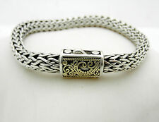 "Estate Fancy Braided 925 Sterling Silver men Bracelet 10k Gold Accent 7.25"" long"