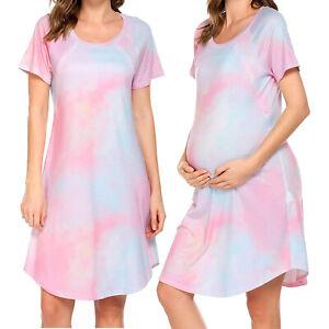 Pregnant Women Dress Short Sleeve Tie Dye Print Skirt Nursing Casual Sleepwear