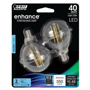 2x Feit Electric BPG1640950CAFL2 Enhance G16.5 Filament LED Bulb 3.8 4 Bulbs New