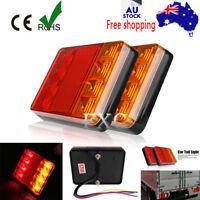 12V WATERPROOF TRAILER PAIR OF REAR TAIL LIGHT LIGHTS KIT SUBMERSIBLE 8 LED BOAT