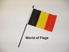 "BELGIUM SMALL HAND WAVING FLAG 6"" x 4"" Belgian Crafts Table Desk Top Display"