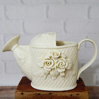Ivory Porcelain Bisque Watering Can Planter Basket Weave Roses 4.5""