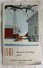 1961 Hudson, Iowa IA Coop Dairy, Cow Milk Co-op Recipe Calendar