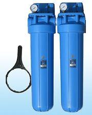 """Duo 20"""" x 4,5"""" Grand Bleu Filtre à eau Boîtier Fontaine, Pompes, Maison"""