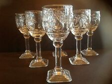 Six Pressed Clear Glass Water/Wine Goblets Square Footed base w embossed Fruits