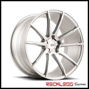 """SAVINI 19"""" BM12 BRUSHED SILVER CONCAVE WHEELS RIMS FITS FORD MUSTANG GT"""