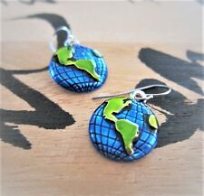 Earth Day World Globe Earrings Hand Painted Cobalt Blue and Green