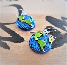 Earth Day World Globe Earrings Hand Painted Cobalt Blue Green
