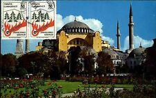 Istanbul Hagia Sophia AK Postcard ~1977 frankiert vorne mit Briefmarken Türkiye