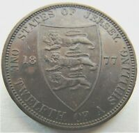 1877 H Jersey Victoria, Young Head 1/12 Shilling, EXTRA FINE.