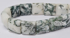 Tree Agate 10x10mm 2-Hole Square Stone Beads (approx. 16 inch strand)