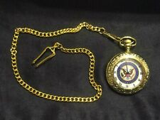 Presidential Seal Gold Plated Pocket Watch w/ Chain
