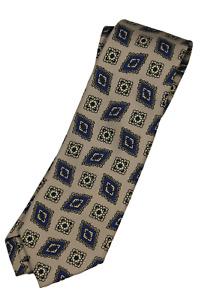 NWT - Drake's – Beige Silk Tie w/Blue & Light Yellow Madder Print, Self-Tipped