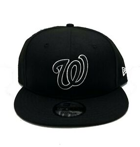 Washington Nationals New Era 9Fifty Black Logo White Outline Snapback Hat