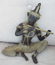 1800 y. RARE GOLD GILT BRONZE HUGE STATUE THAI PRINCE PRA APAI MANEE MUSIC FLUTE