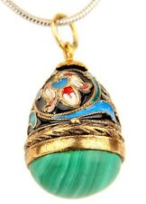 Faberge Egg Sterling Silver Gold Plated Floral Enamel Malachite Pendant