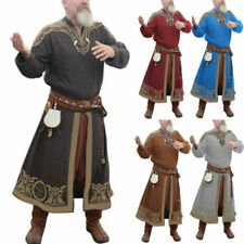 Men Shirt Medieval Vikings Blouse Cosplay Long Sleeve Robe Celtics Warrior Tops