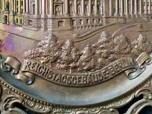 """Bronze Guss Teller """"Reichstagsgebäude in Berlin """" - Um 1900"""