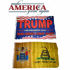 3x5 Trump Make America Great Again! New Jersey Gadsden Wholesale Flag Set 3'x5'