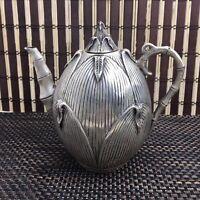 China antique Tibetan silver hand carving lotus frog teapot wine pot