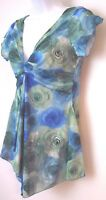 Zoey Beth Womens Top Blouse M Medium Short Sleeve V Neck Blue Green Floral  D1