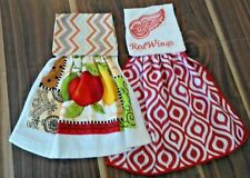 1 RED WING & 1 FRUIT HANGING KITCHEN DISH TOWELS HOOK AND LOOP FASTENER