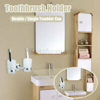 Double Tumbler Cup Toothbrush Holder Rack Wall Mounted For Bathroom + Glass Cups
