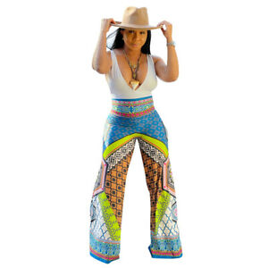 Sexy Women's V Neck Sleeveless Multicolor Print Patchwork Casual Wide Jumpsuit