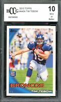 2010 Topps #440A Tim Tebow Rookie Card BGS BCCG 10 Mint+
