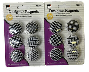 12 Charles Leonard Button Style Magnets, Assorted Designs, Black/White
